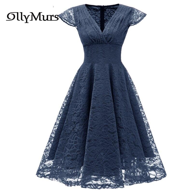 Solid Lace Elegant Party Dress LR913 Vintage Burgundy A-Line Prom Dresses For Women 2020 V-Neck Short Sleeve Vestidos De Gala
