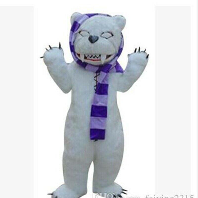 Disfraz de la mascota del oso blanco de maquillaje para adultos, Navidad de fantasía de traje de fiesta, ropa de evento, personaje de dibujos animados, ropa de cumpleaños