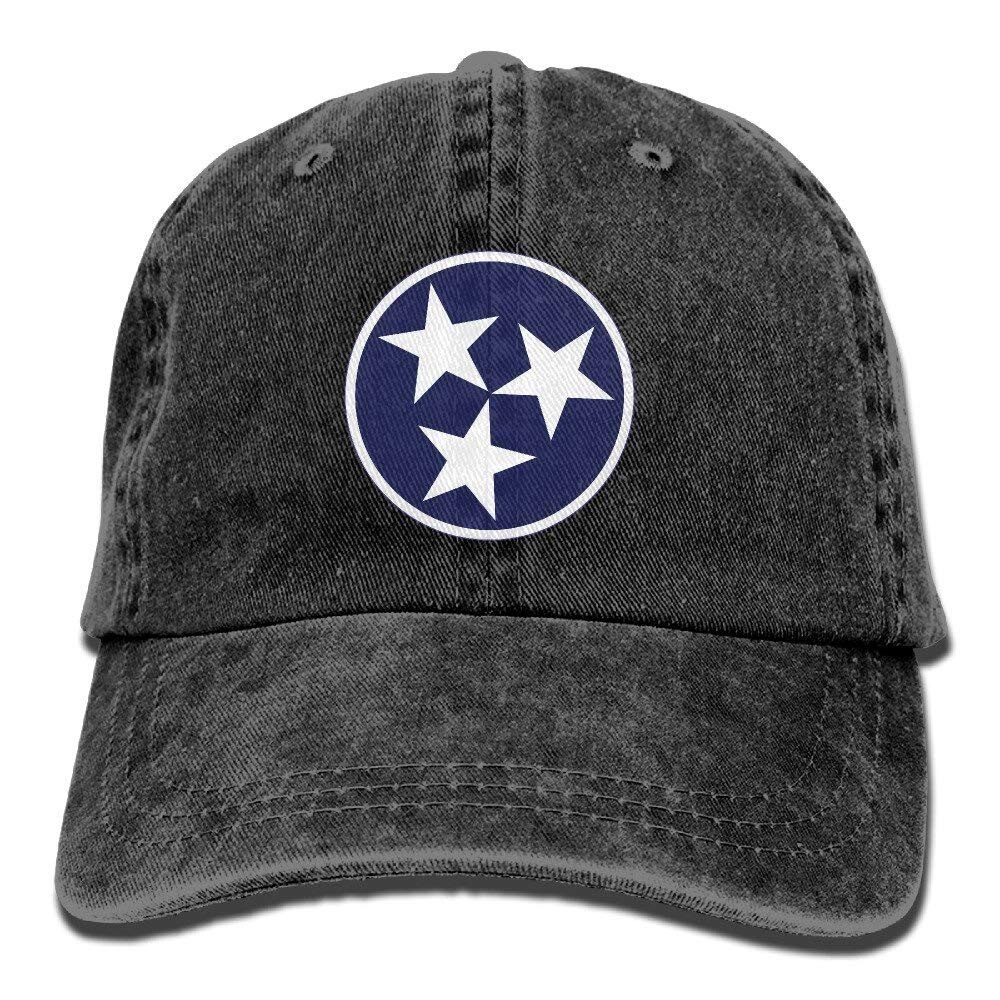 Tennessee Tri Star bandera Vintage ajustable sombrero de tela de vaquero gorras de béisbol para adulto