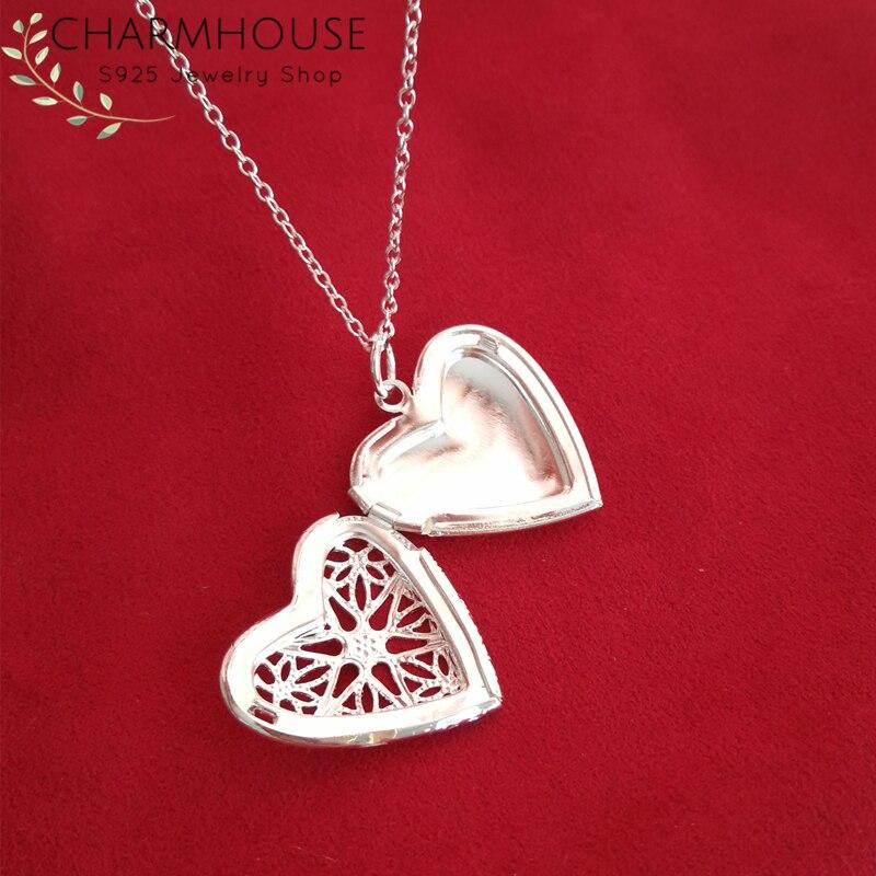 Charmhouse 925 collares de plata de ley para mujeres corazón medallón colgante y collar enlace cadena gargantilla Collier moda joyería