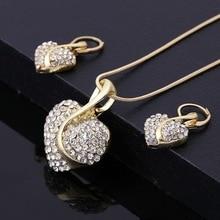 ATTRACTTO amour coeur ensembles de bijoux de mariage collier boucles doreilles ensembles pour mariée élégante dame de mariage ensemble de bijoux SET190033