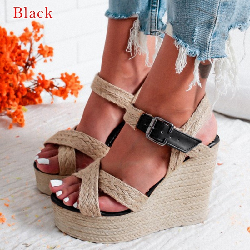 Summer Women Sandals Platform Wedge Sandals Women Zipper Solid Summer Shoes Gladiator Sandals Big Size New Fashion Drop Ship