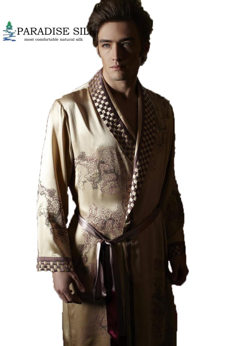 Men Silk Robe 100% Pure 19MM Silk Men Luxury Sleepwear Embroidered Kimono Robe Nightgown Size L XL XXL