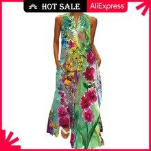 MOVOKAKA 2021 Floral Print Green Dress Women Long Casual Plus Size Dresses Summer Woman Sleeveless G