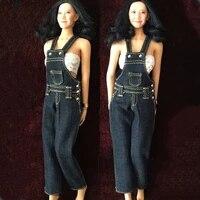 16 scale 12 inches female bodies figures belt bib pants denim jeans accessories