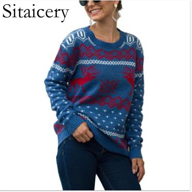 Christmas Women Sweater Santa Claus Xmas Printing Long Sleeve O-neck Christmas Knitting Pullover Sweater Top Jumper Knitwear недорого