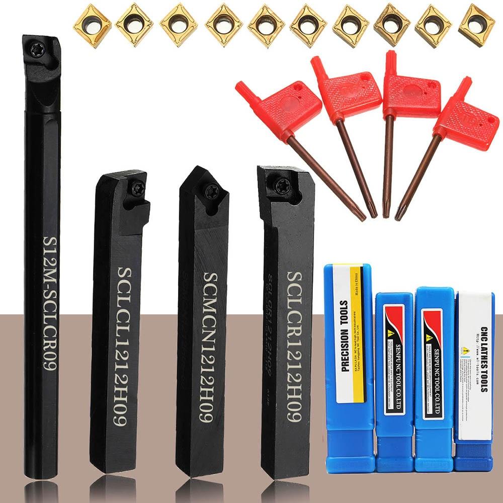 4 шт. 12 мм хвостовик токарно-винторезный станок инструмент держатель сверлящей оправкой с 10 шт. вставки карбида и 4 шт ключ, дюймовый стандарт