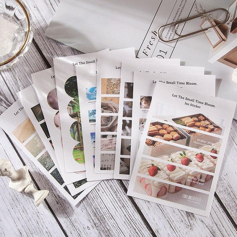Mohamm 6 yaprak Mo Jing özel kağıt dekoratif Sticker kitaplar Scrapbooking DIY not kağıdı ve PVC etiket gevreği sabit kapalı