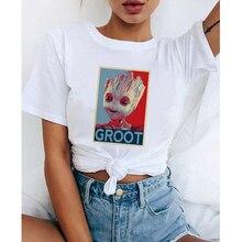 LUS LOS Marvel Groot T Shirt Weibliche T-shirt Kurzarm Lässige Weiß T Shirt Baumwolle Tops Harajuku Frauen Kleidung Streetwear