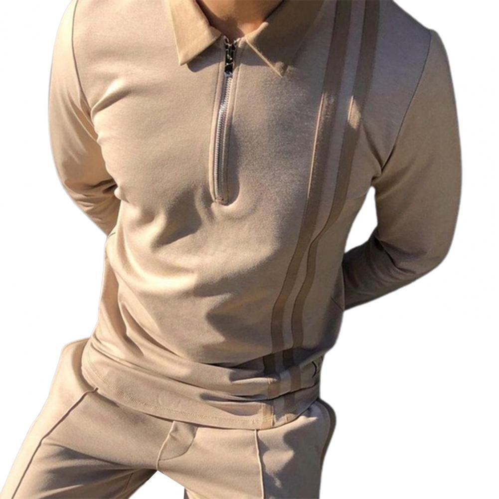 40% Dropshipping!Turn-down Collar Men Top Patchwork Striped Print Thin Zipper Long Sleeve Autumn Shirt Streetwear for Daily Wear inclined zipper fly rib spliced turn down collar slimming flocked sweatshirt for men