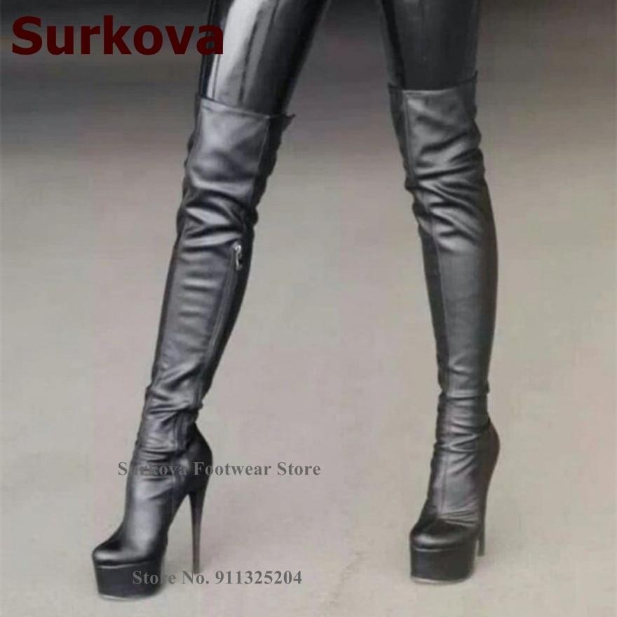 Surkova-حذاء أسود رفيع بكعب عالٍ فوق الركبة ، حذاء نسائي بسحاب ، لفصلي الخريف والشتاء
