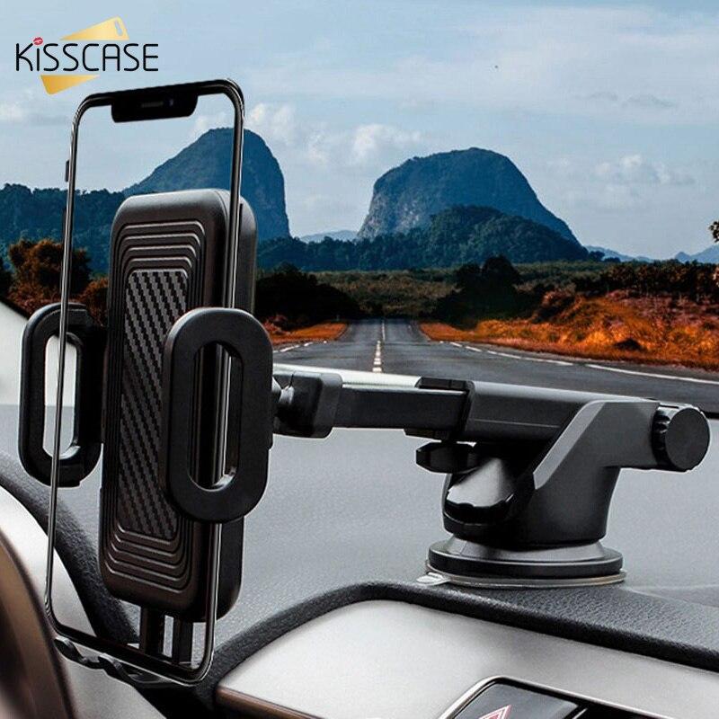 Soporte KISSCASE para teléfono de coche, soporte elástico de fibra de carbono para iPhone Samsung, salpicadero o parabrisas, ventosa, salida de aire, montaje