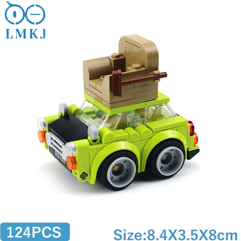 MOC Speed Chumps Bean Mini Green Car Roof With Sofa Model Building Blocks Mr.Beansed TV Collection DIY Vehicle Bricks Kids Toys