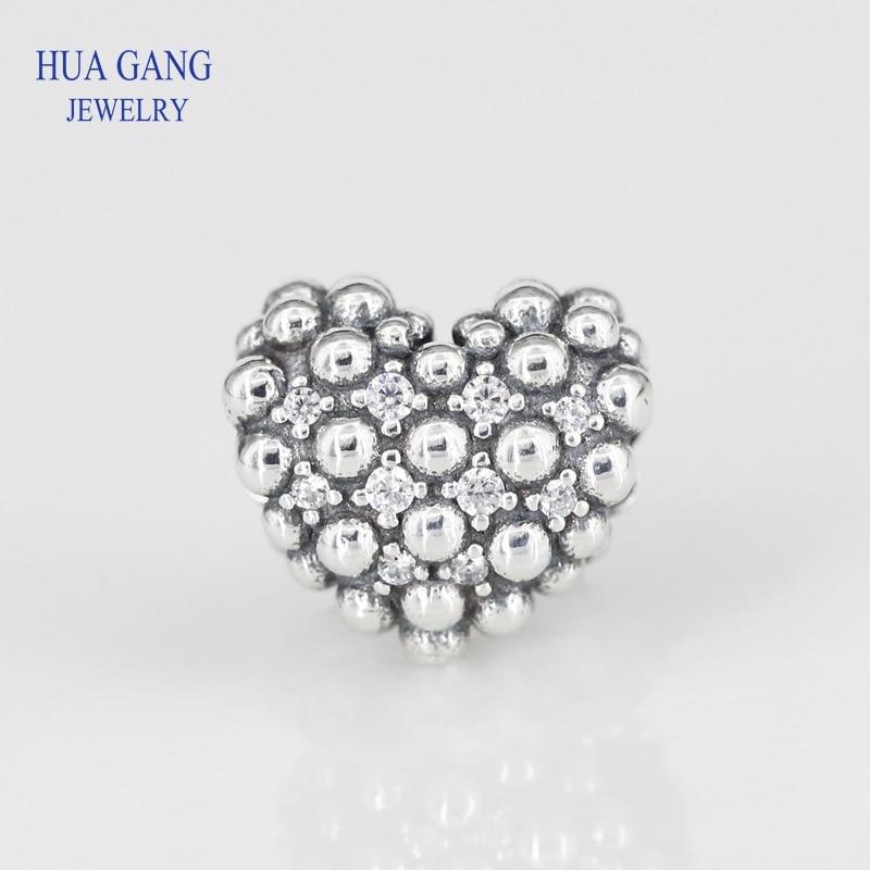 Joyería Fina Valentines nuevos ajustes Pandora pulsera 925 Sterling cuentas plateadas corazón con brillos encantos cuentas para la fabricación de joyas