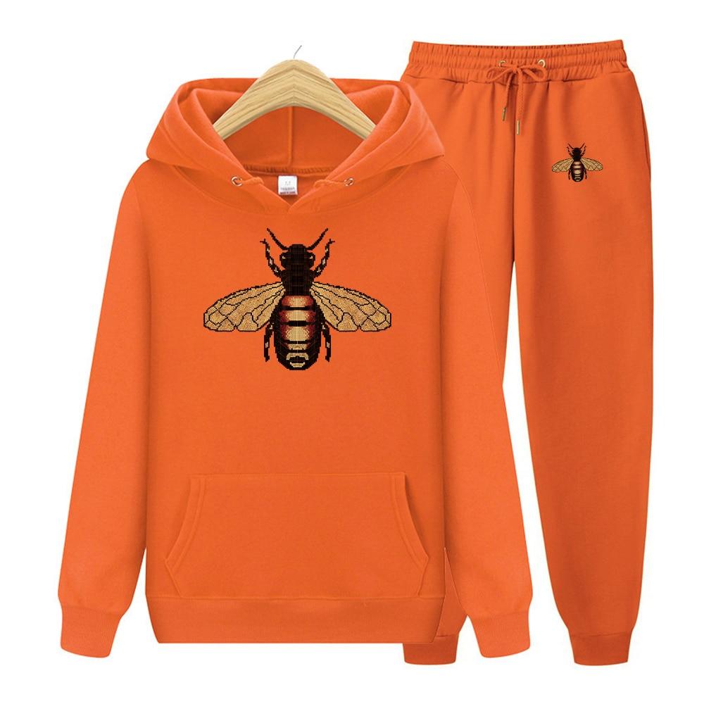Мужской комплект из 2 предметов, Толстовка и штаны с капюшоном, Свитшот и брюки, мужской комплект с карманами, толстовка с принтом пчелы, пуло...