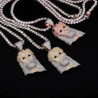 new color rhinstone wearing a crown jesus lady jewelry necklace pendant with chain zircon hip hop hipster necklace men 3 colors