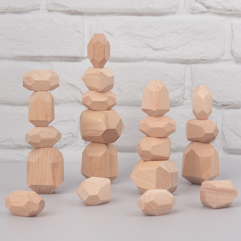 New Montessori Educational Wooden Colored Stone Jenga Building Block Toys Creative Nordic Style Stacking Games Rainbow Hot Gifts colored stone baby toy wooden jenga building block creative educational toys nordic style stacking game rainbow stone wooden toy