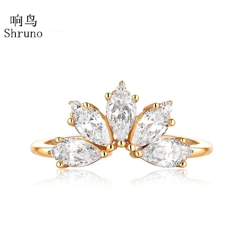 Shruno-خاتم مويسانيتي من الذهب الأصفر عيار 14 قيراطًا للنساء ، خاتم خطوبة مرصع بالألماس ، مجوهرات عصرية فاخرة