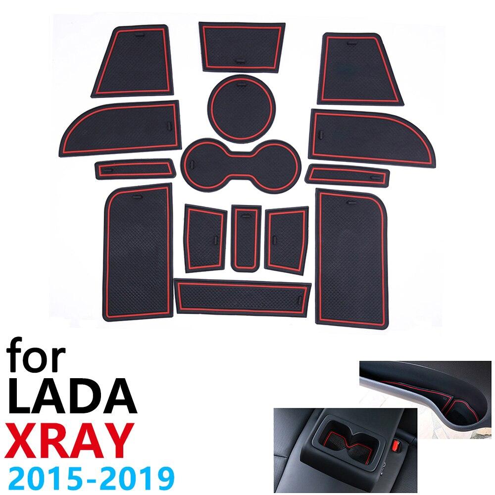 Tapis de porte antidérapant pour Lada XRAY   2015 ~ 2019 2016 2017 2018 15 pièces, accessoires autocollants de voiture, tapis pour téléphone