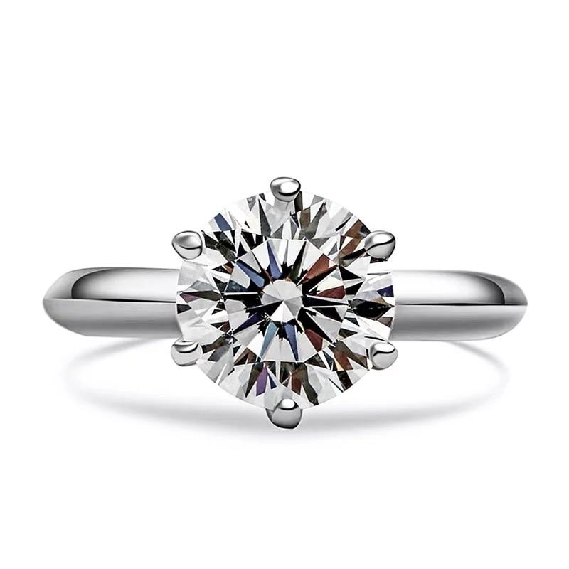 Meisidian التصميم الكلاسيكي 18K الذهب الأبيض الحقيقي 1 قيراط G VVS1 Lab CVD خاتم الخطوبة الماس النساء