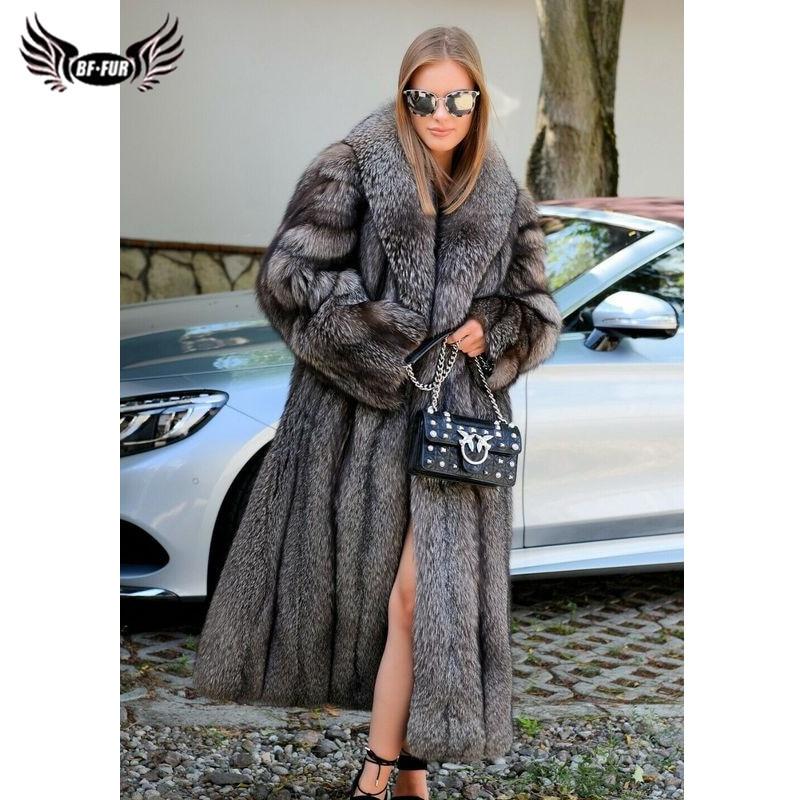 BFFUR النساء الشتاء ريال الفضة الثعلب الفراء معاطف مع الفراء طوق الطبيعية الجلد كله حقيقية الفضة الثعلب الفراء معاطف الفاخرة امرأة