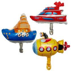 1PC mini schiff serie submarine yacht cruise ballon folie ballons geburtstag party dekorationen kinder spielzeug baby dusche globos