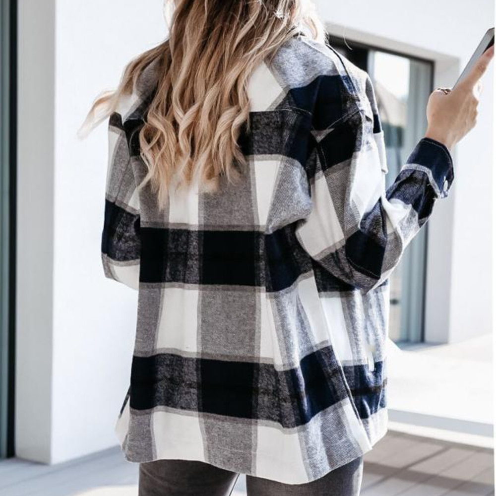 Shirts For Women Plaid Long Sleeve Button Up Shirt Collared Tops And Blouse 2021 Autumn Spring Fashion Loose Casual Black White