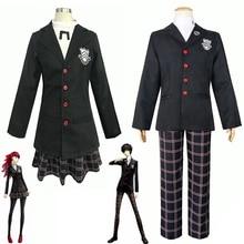 Anime cosplay persona 5 cosplay costume akira kurusu / ren amamiya uniforme scolaire pour unisexe manteau chemise pantalon perruque