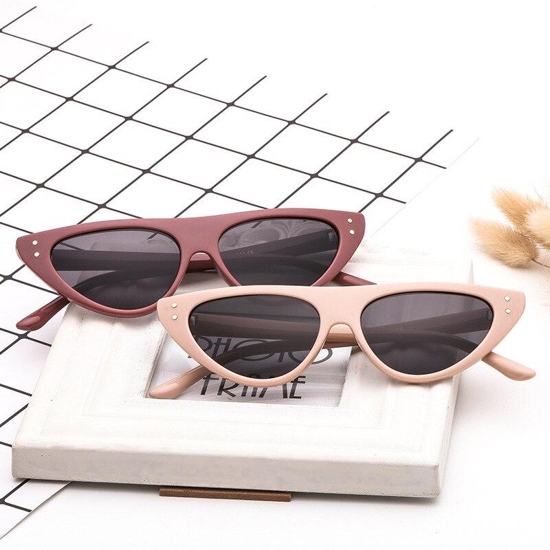 2021 модные ретро солнцезащитные очки кошачий глаз для женщин UV400 маленькие черные белые треугольные винтажные дешевые женские солнцезащитн...