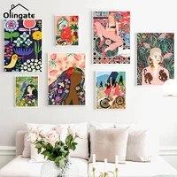 Abstrait Colore Fleurs Fille Cheveux Art Mural Toile Peinture Oiseau Nordique Toile Affiche Une Piece Mur Photos Vintage Deco Maison