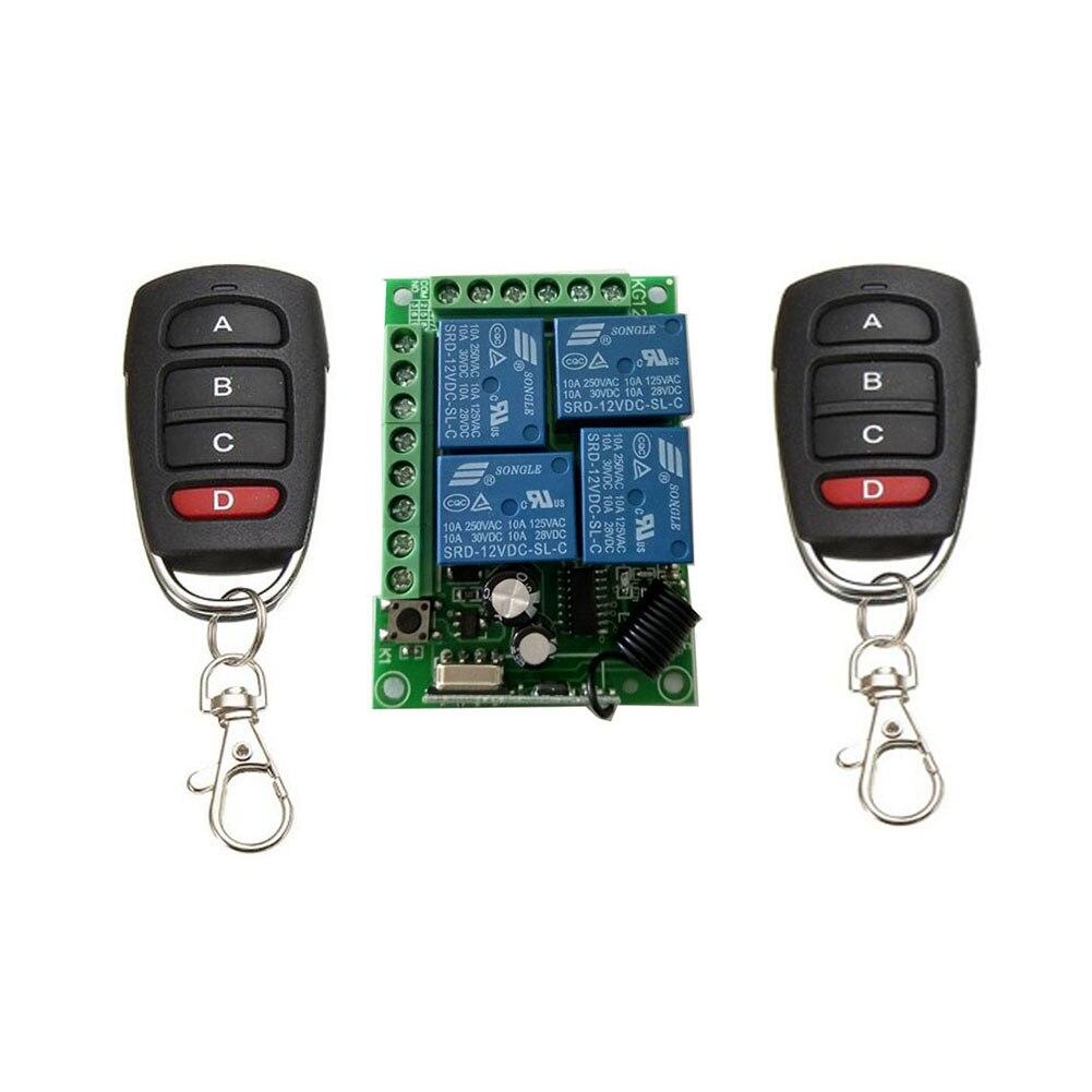 Moda 315/433 Mhz Control remoto inalámbrico Universal Swit cc 12V 4 canales relé módulo y Transmisor RF #0610