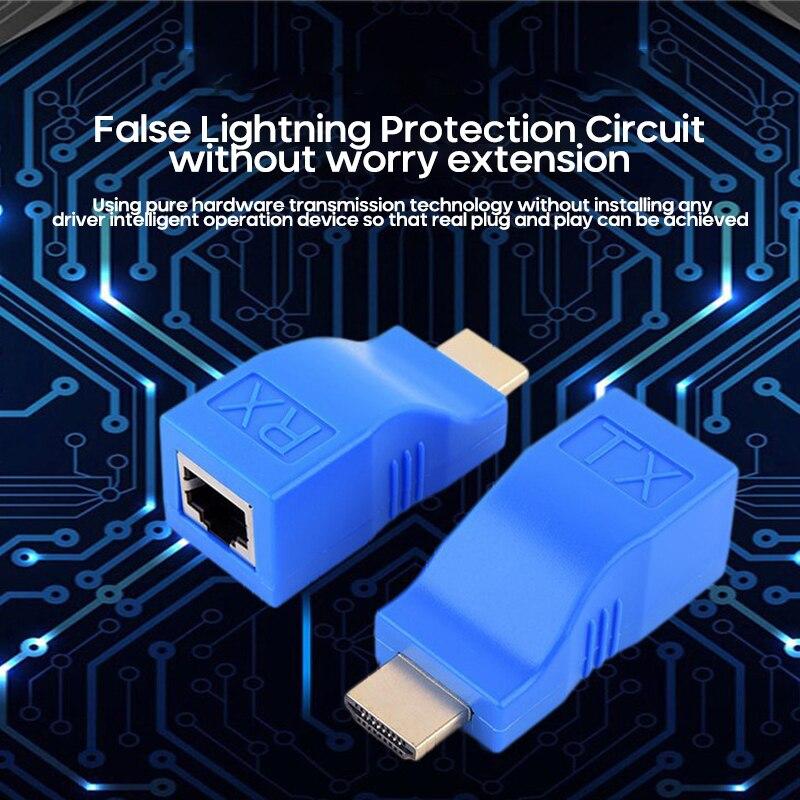 Extensor de extensión compatible con HDMI, hasta 30m, RJ45, 4K, CAT5e, Cat6,...