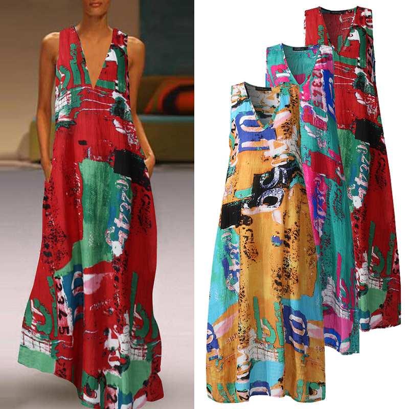 Zanzea vestido de verão, vestido de verão da moda, estampado, sem mangas, floral, feminino, decote em v, robe, tamanho grande, 2020