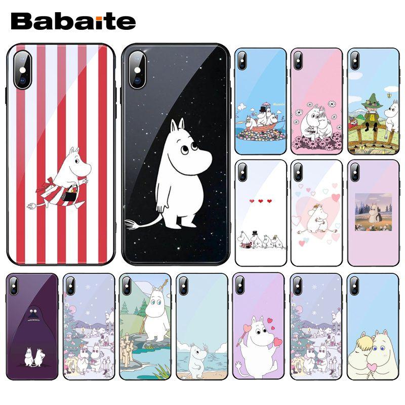 Babaite adorável hipopótamo moomin vidro temperado caso de telefone para iphone 11 pro xr xs max 8x7 6 s 6 plus
