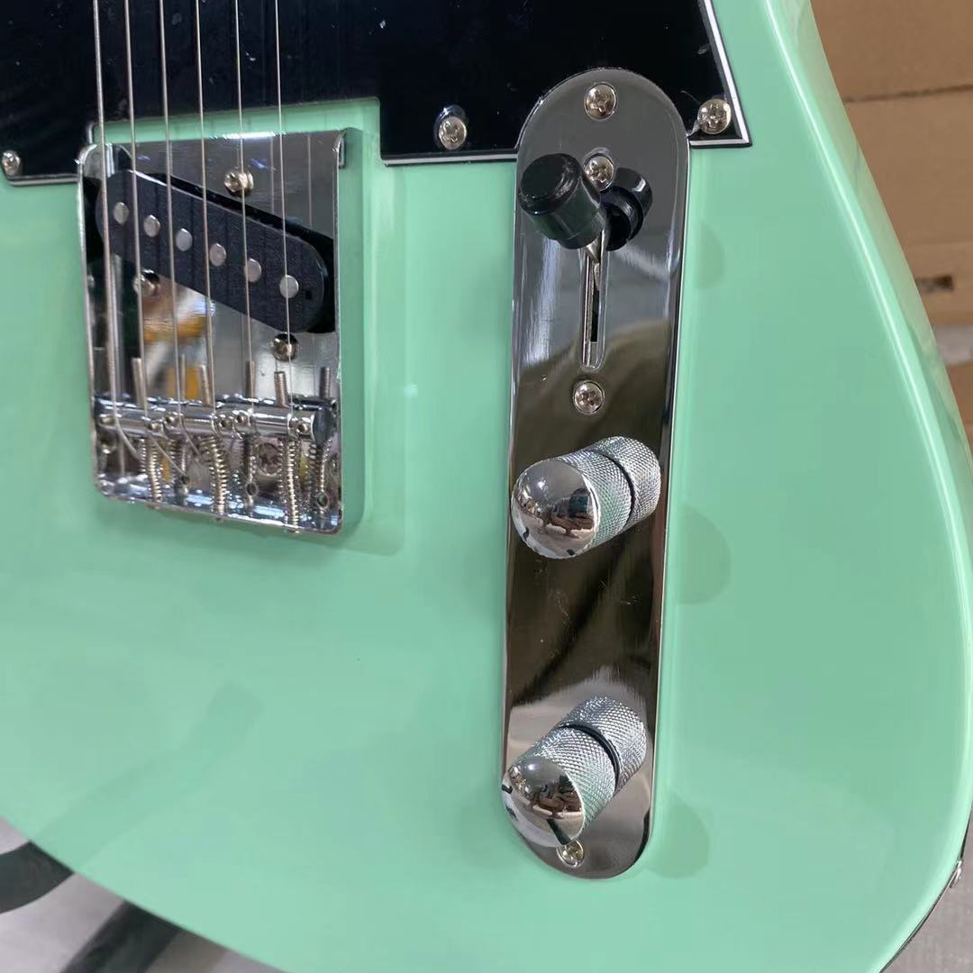 Tele Electric Guitar Bass Wood Body Rosewood Fingerboard Black Pickguard Chrome Hardware Surf Green Color Free Shipping enlarge