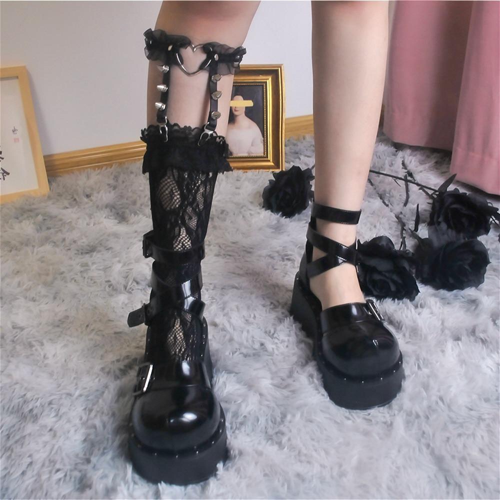 Kawaii punk meninas lolita meias cosplay japonês rendas rebite loli meias meias femininas quentes sexy senhoras lolita meia