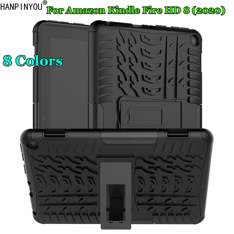 For Amazon Kindle Fire HD 8 (2020) Dazzle Shockproof Soft Silicone & Hard Plastic Dual Armor Back Case Stand Holder Cover