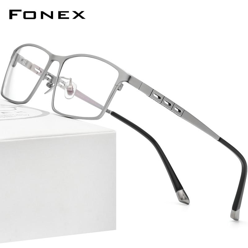 FONEX التيتانيوم النقي النظارات الإطار الرجال مربع نظارات 2022 جديد الذكور كامل حافة إطارات البصرية وصفة النظارات إطارات F85691