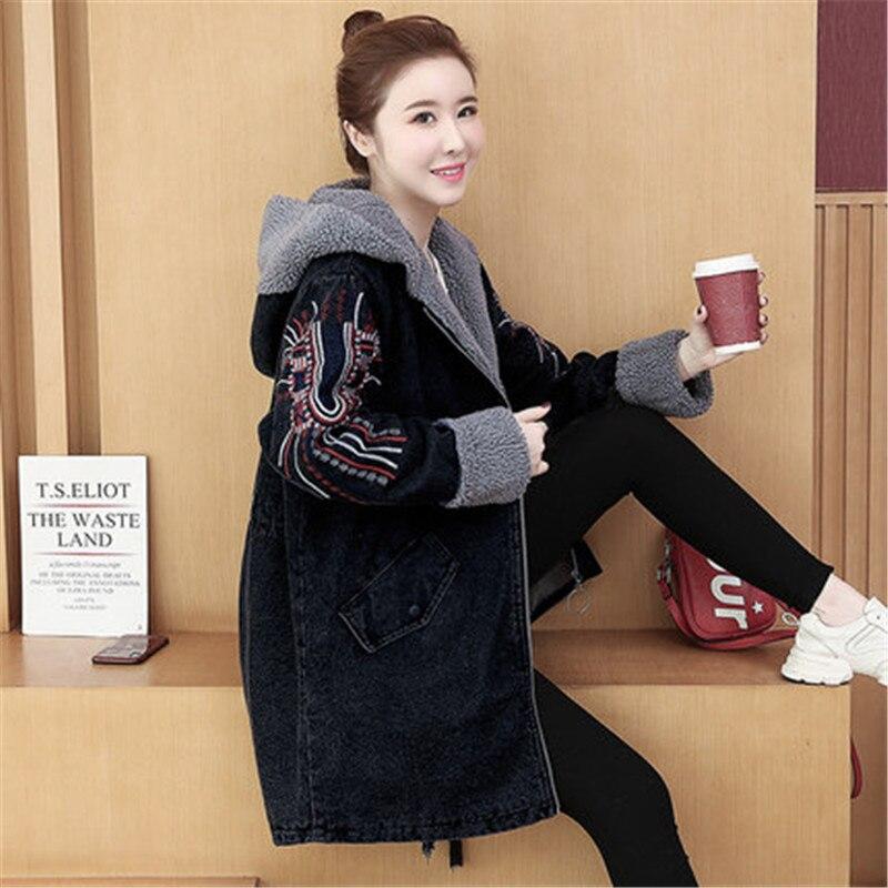 2020 Fashion Lamb Wool Plus Size Denim Cotton Coat Women Long-Sleeved Parkas Winter Vintage Embroide