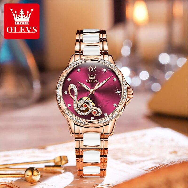 OLEVS New Fashion Women Casual Automatic Mechanical Movement Stainless Steel Ceramic Bracelet 30M Waterproof Luminous Watch 6656 enlarge