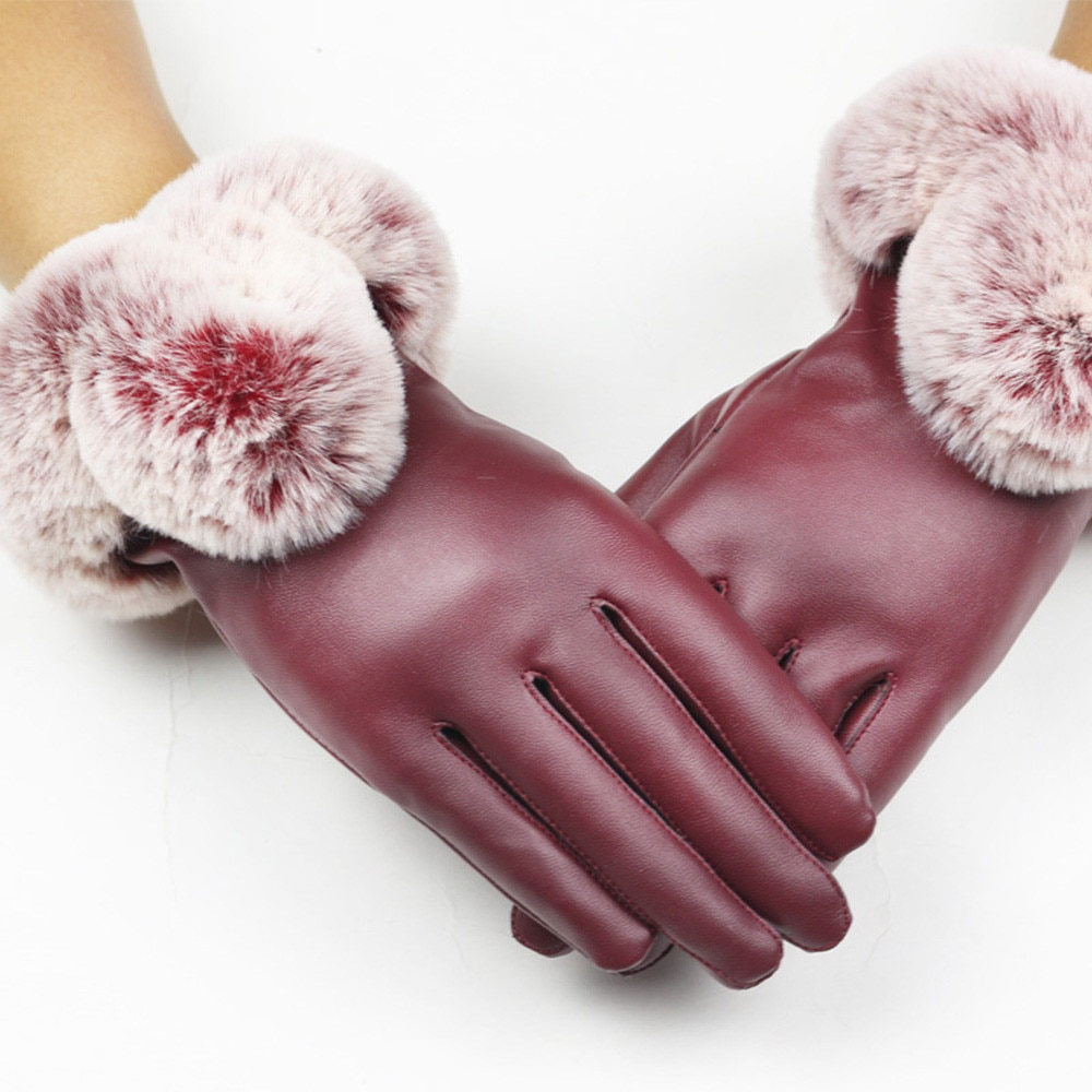 2021 Winter Men's Gloves PU Leather Mitts Faux Fur Short Thick Touch Screen Gloves Full Finger Mitte