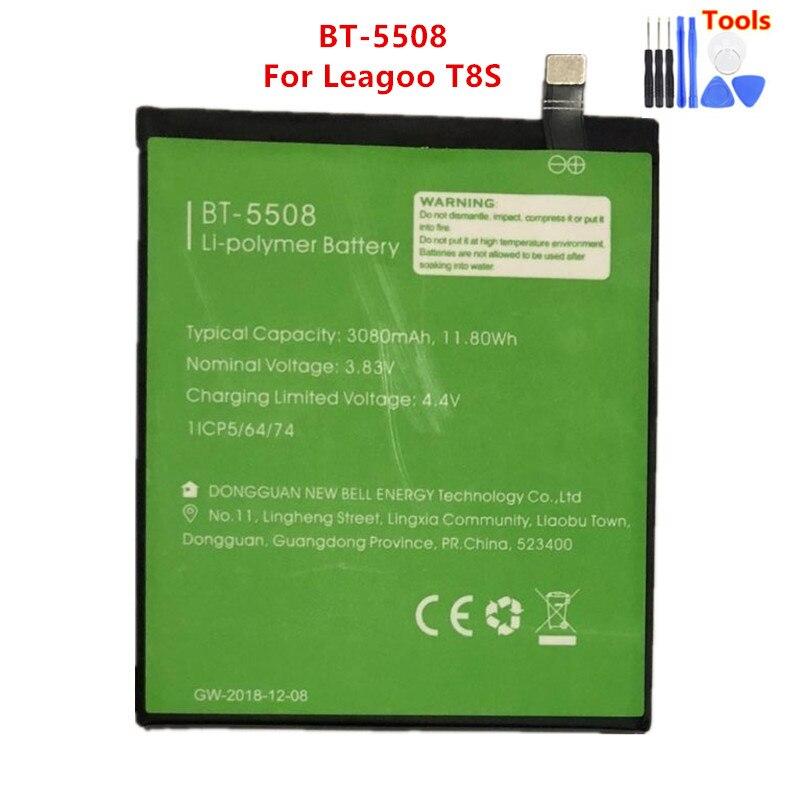 100% Original Backup BT-5508 Leagoo T8S Battery 3080mAh For Leagoo T8s Smart Mobile Phone BT-5508  + Free tools недорого