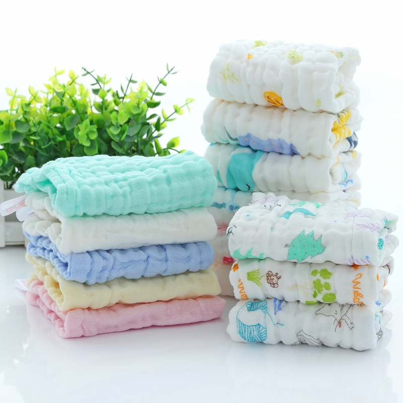 5 Pcs 30x30cm Baby Handkerchief Square Towel Muslin Cotton Baby Face Towel Wipe Cloth Appease Newborn Supplies 100% Gauze Cotton