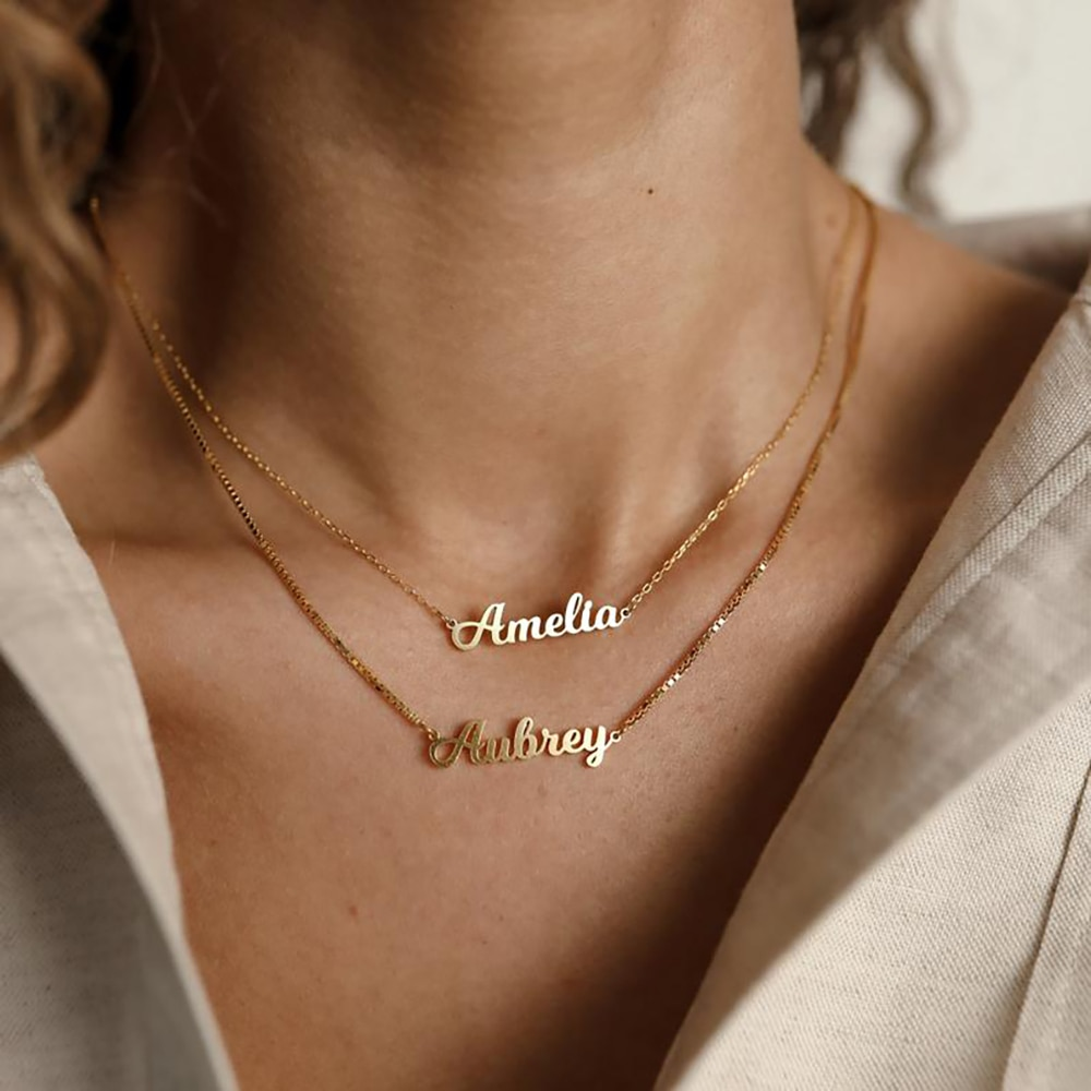 Mini-World Customized Necklace With Name Personalized Stainless Steel Nameplate Pendant Jewelry Choker Anniversary Party Gift wholesale rose name necklace with crystal decoration personalized silver nameplate pendent celebrity party jewelry gift