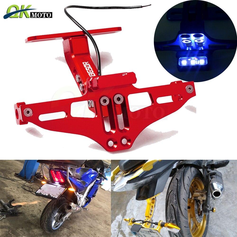 Soporte de marco de placa de aluminio de ángulo ajustable CNC para motocicleta con luz LED para Honda cb650R CB 650 R CB650R CB650r