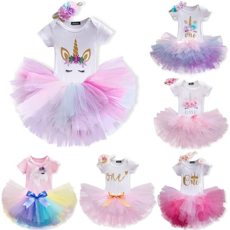 Комплекты одежды для маленьких девочек на первый день рождения детский костюм на крестины для новорожденных девочек, детские костюмы комбинезон, юбка, повязка на голову