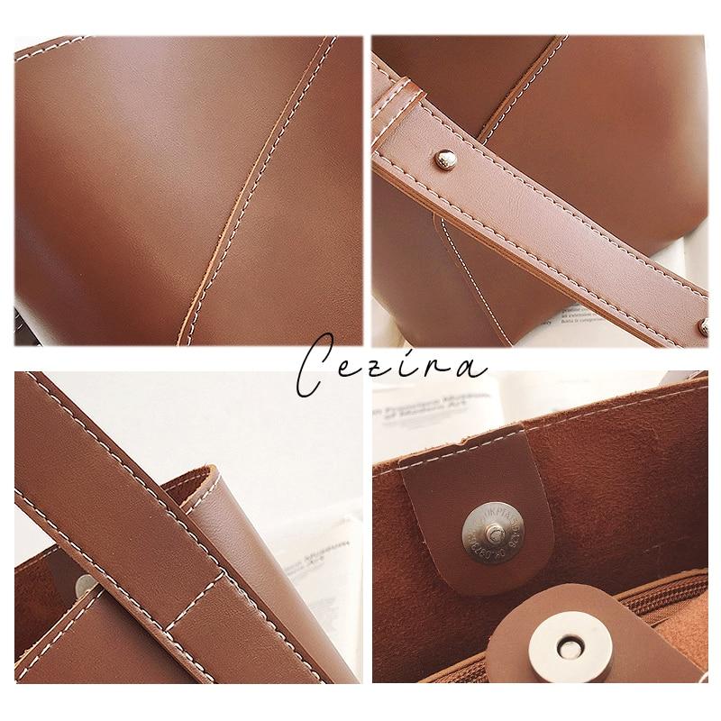 CEZIR Fashion PU Leather Bucket For Women Simple Design Liner Bag Crossbody Hobo Solid Color Large Female Daily Shoulder HandBag