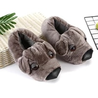 couple funny slippers girls cool dogs plush shoes winter home slippers for women plus size 35 43