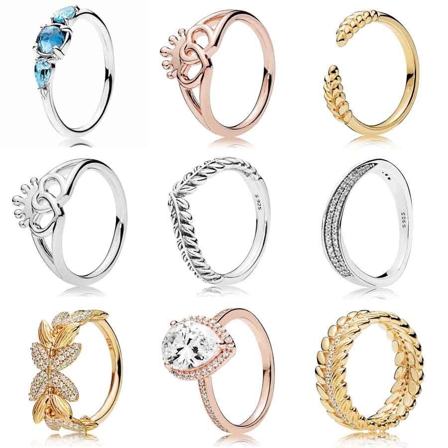 Pendientes de trigo con corazones coronados entrelazados de rosas, deseos animados con anillo de cristal, joyería de plata de Ley 925 DIY Europa