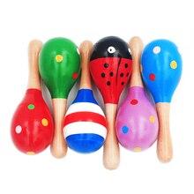 1Pc 12x4cm Infant & Kleinkinder Holz Sand Hammer Holz Maraca Rasseln Sand Hammer Kinder Musical Party favor Kind Baby Shaker Spielzeug